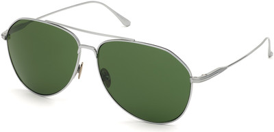 Cyrus Sunglasses - Shiny Palladium Titanium with Green Lenses