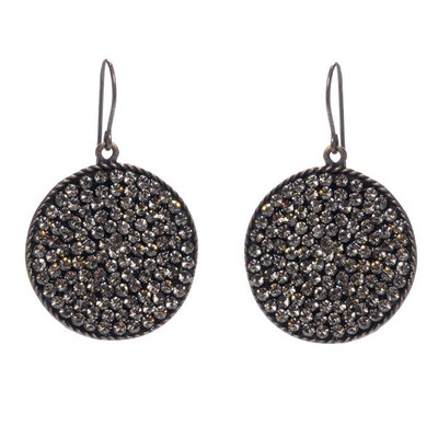 Crystal Round Disc Earrings - Black Diamond