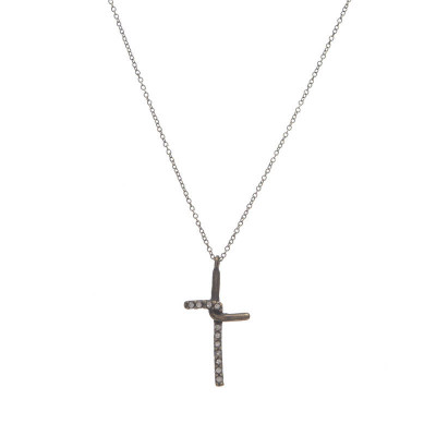 Crystal Cross Necklace - Black Diamond