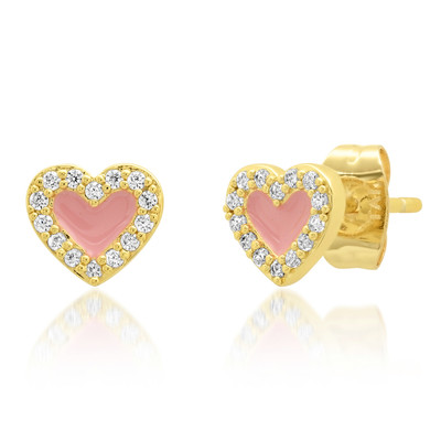 Enamel Stud Hearts with Halo - Pink