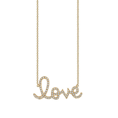 Love Script Pave Necklace - Love