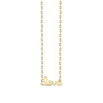 Gold Pure Love Script Necklace - Tiny
