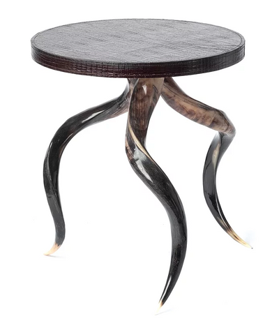 Polished Kudu Horn Table Base/ Embossed Leather Table Top