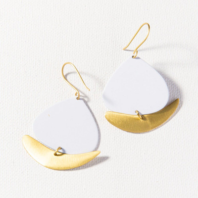 Boat Dangle Earring - White + Matte Brass