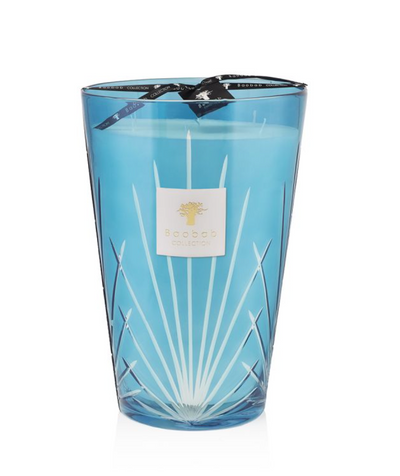 Poured in a hand-blown turquoise glass, and engraved with a motif reminiscent of the iconic palm leaves of West Palm.