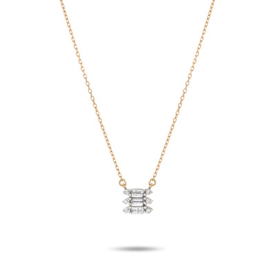 This beautiful Triple Stack Baguette Necklace with three diamond stacks, each stack feature a baguette diamond and two diamond rounds in a shared prong setting. A perfect piece for every day wear!