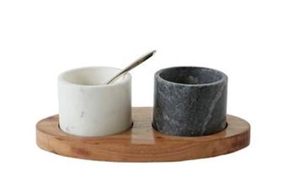 Mango Wood Tray w/ Marble Bowls & Brass Spoon (4 pc Set)