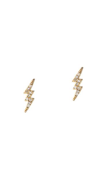 Thunder Post Earrings - Gold CZ