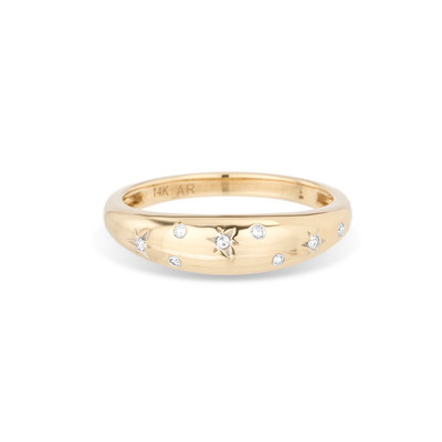 Celestial Diamonds Small Half Dome Ring - 8 - 14k Yellow Gold