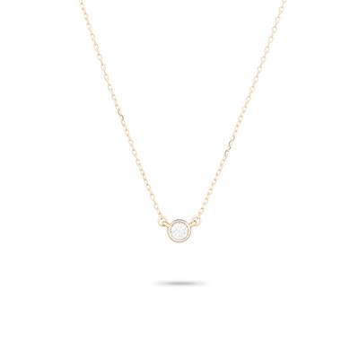 Single Diamond Necklace - 14k Yellow Gold