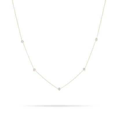 5 Diamond Chain Necklace - 14k Yellow Gold