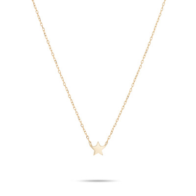 Puffy Star Necklace - Super Tiny - 14k Yellow Gold
