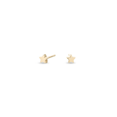Puffy Star Earrings - Super Tiny - 14k Yellow Gold