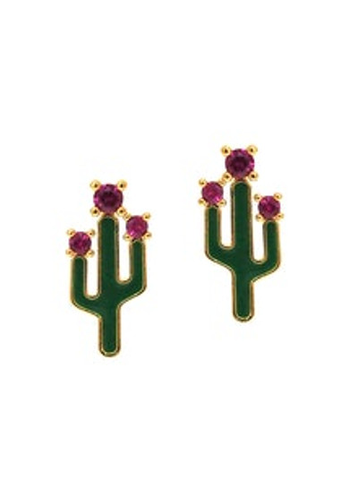 Cactus Studs with Pink Accents