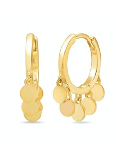 Gold Medium Hoops with Gold Dangle Disks