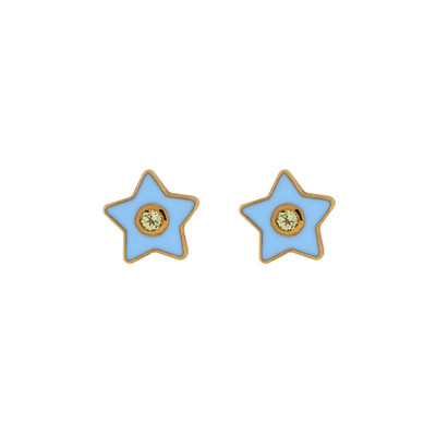 Enamel Stud Earrings - Star