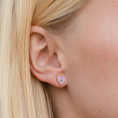 Enamel Stud Earrings - Heart