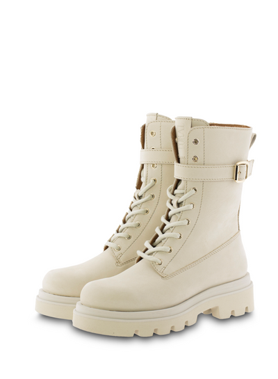 Leather Combat Boot with Buckle