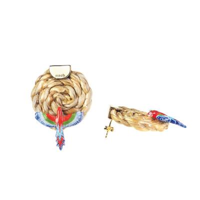 Wicker Red Parrot Earrings