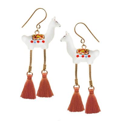 Llama Pompom Earrings