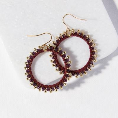 Glass Brass Hoop Dangle Earring