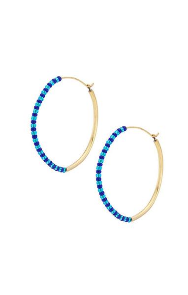 Shanga Maxi Hoop Earrings - Gold | Blue