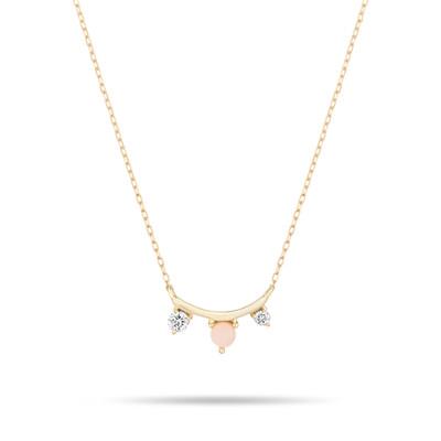 Amigos Curve Necklace - Pink Opal + Diamond