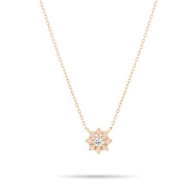 Flower Necklace - Pink Opal + Diamond