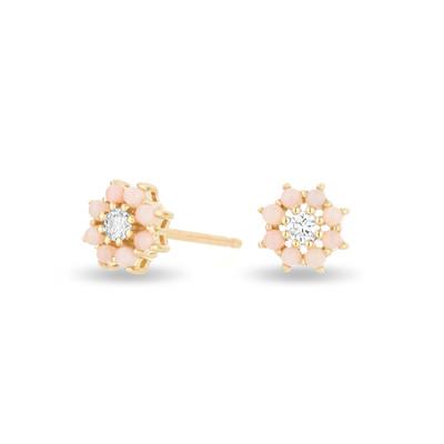 Flower Posts - Pink Opal + Diamond