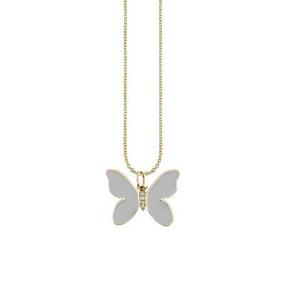Enamel + Diamond  Butterfly Necklace