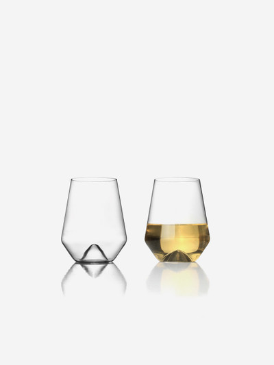 As companions to the successful Monti-Decanters, these ultra clear, lead-free crystal wine glasses have a design that'll steal the show at your next dinner party. Designed perfectly for white wine, Monti-Bianco comfortably holds a standard 5oz pour, which measures just above the waist of each glass, but easily holds up to 12oz if filled. Each glass and its center showcases the inspiration of the Italian Alps for this creation.