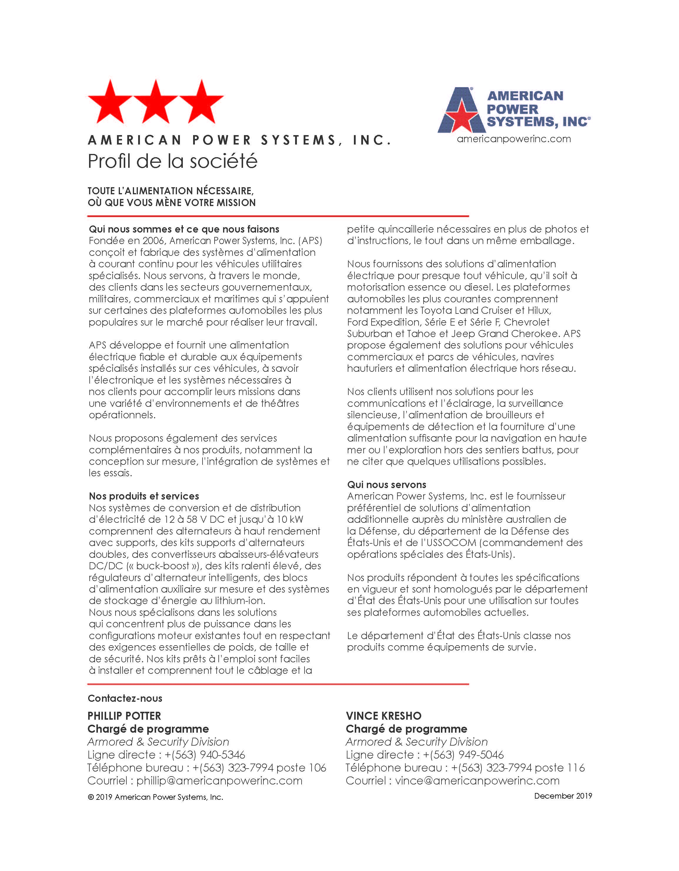 APS Business Profile French Version