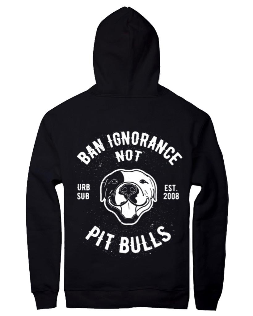 BAN IGNORANCE NOT PIT BULLS B&W Black Unisex Hoody