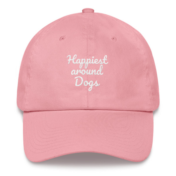 HAPPIEST AROUND DOGS Embroidered Dad hat