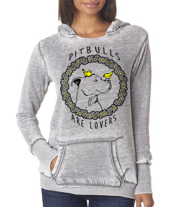 PIT BULLS ARE LOVERS Ladies Vintage Hoody
