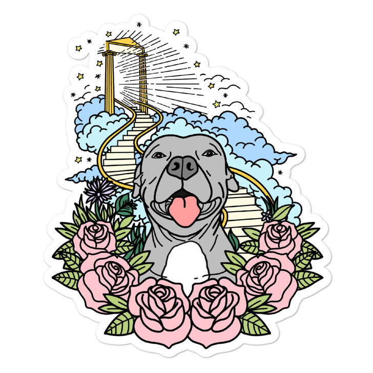STAIRWAY TO HEAVEN (Gray Dog) Bubble-free stickers