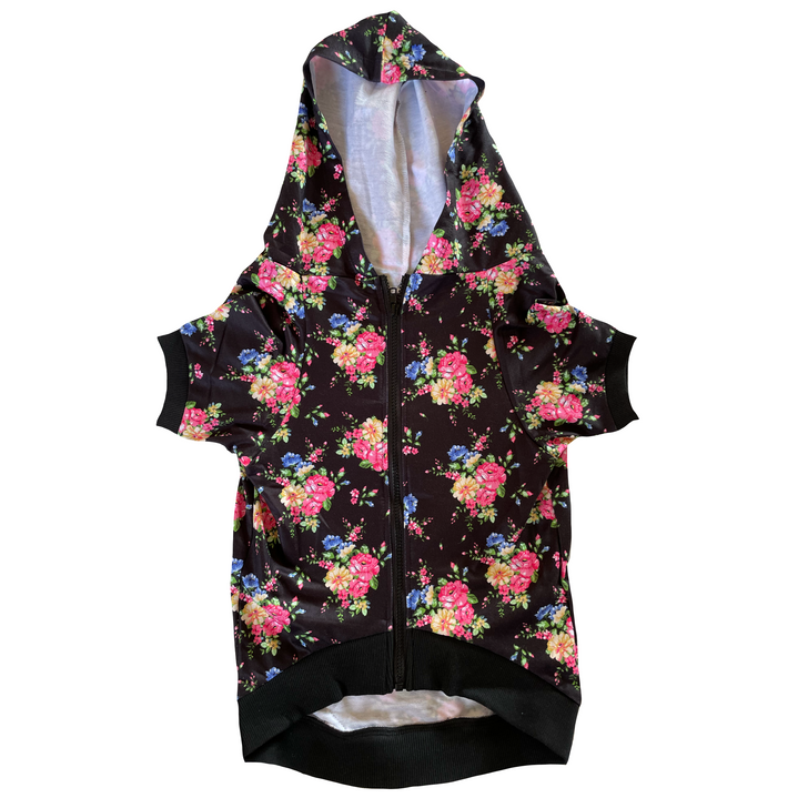 Floral Dog Zip-Up Hoody