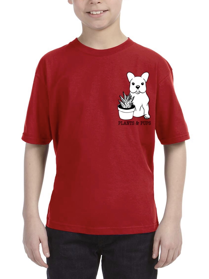 PLANTS & PUPS Youth Red Tee (Size Small)