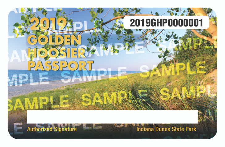 2019 Golden Hoosier Passport. Valid January 1, 2019-December 31, 2019.
