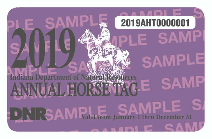 2019 Annual Horse Tag. Valid January 1, 2019-December 31, 2019.