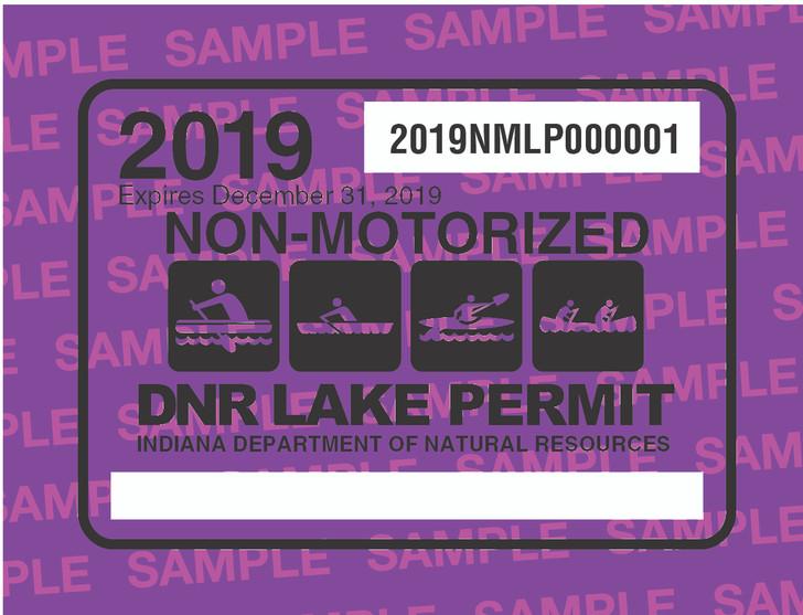2019 Non-Motorized Lake Permit. Valid January 1, 2019-December 31, 2019.