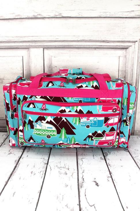"""Cute Camper 23"""" Duffle Bag - Pink Trim*"""