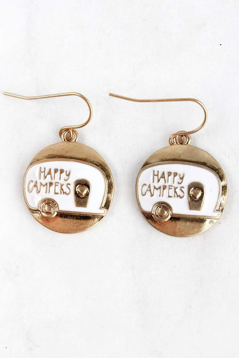 Cute Camper Gold and White Earrings*