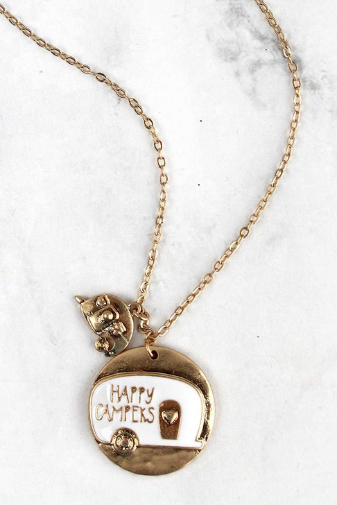 Cute Camper Gold and White Necklace*