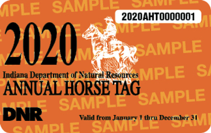 2020 Annual Horse Tag. Valid January 1, 2020-December 31, 2020.