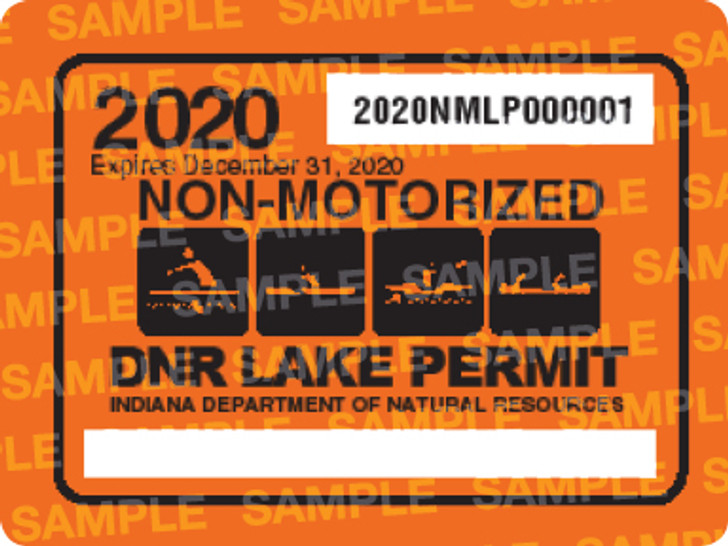 2020 Non-Motorized Lake Permit. Valid January 1, 2020-December 31, 2020.