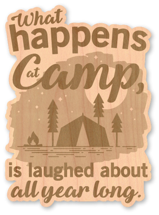 What Happens at Camp Wood Sticker-Natural*