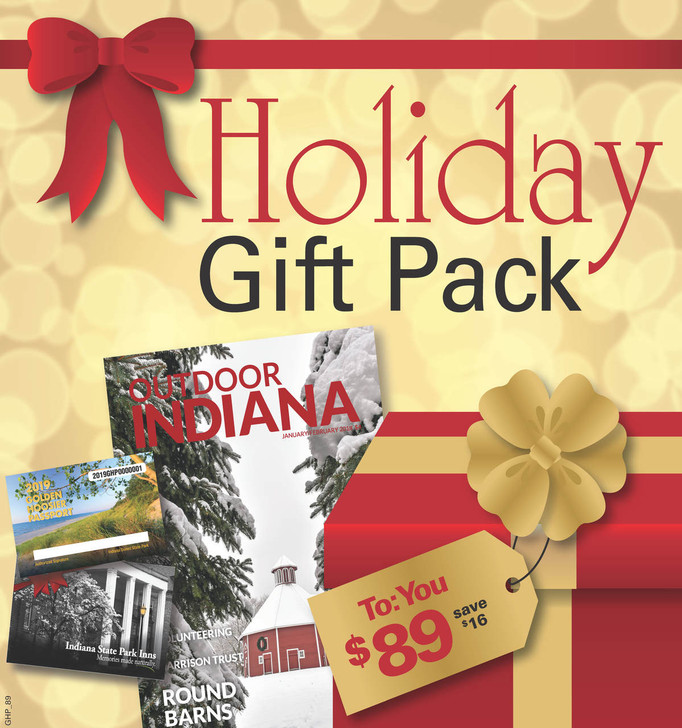 Your inn pack includes: a 2020 Golden Hoosier Passport, a $65 inn gift card, and a 1 year subscription to the Outdoor Indiana Magazine.