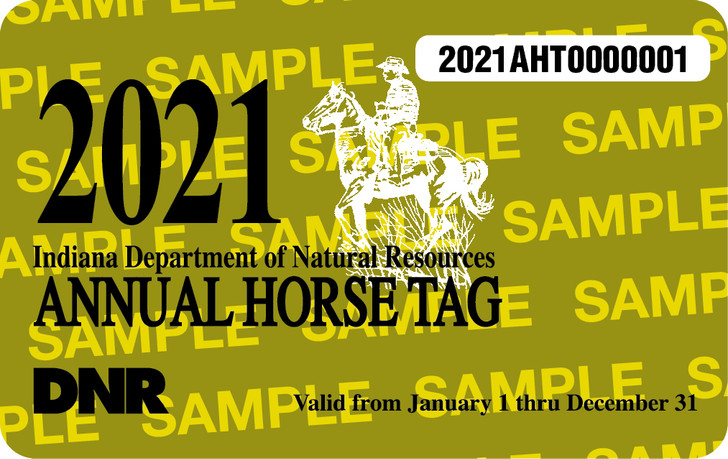 2021 Annual Horse Tag. Valid January 1, 2021-December 31, 2021.