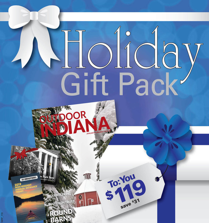 Your inn pack includes: a 2021 Non-Resident Annual Entrance Permit, a $65 inn gift card, and a 1 year subscription to the Outdoor Indiana Magazine.